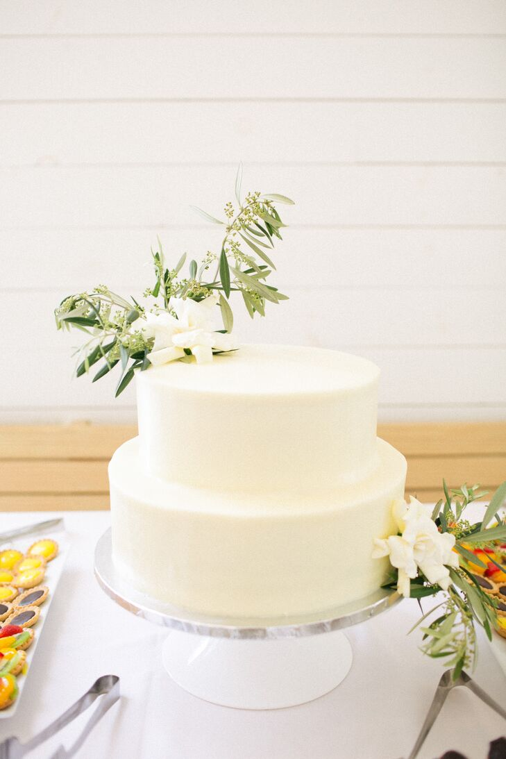 Simple Tiered Cake with Magnolia and Eucalyptus Accents