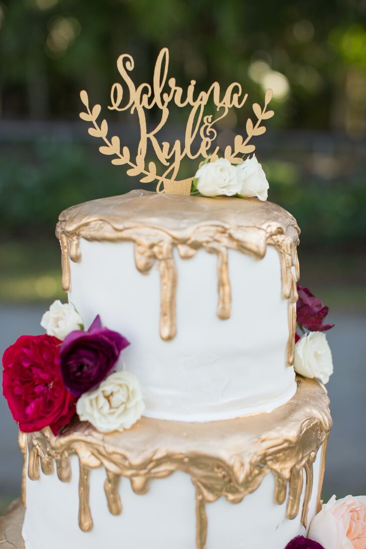 Wedding Cake with Personalized Topper and Gold Drip