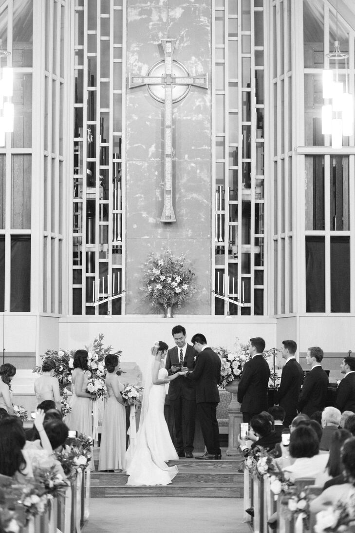 Jauchy and Jeff exchanged rings at the Presbyterian Church of Los Gatos, California.
