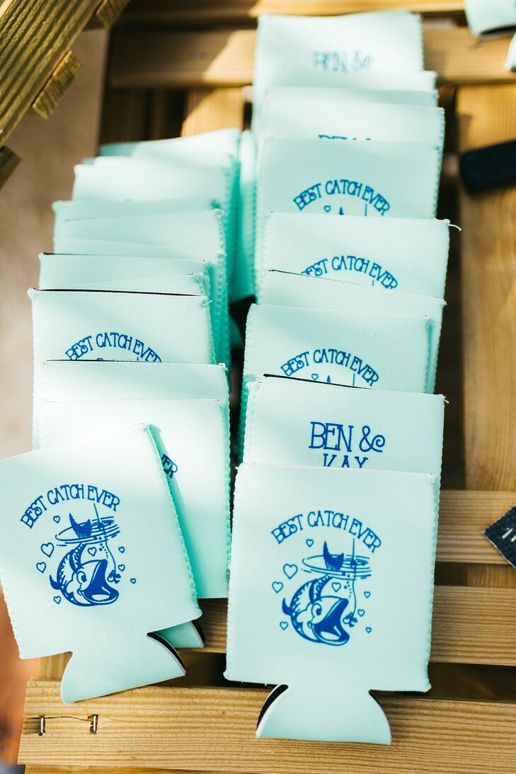 """As favors, Kay and Ben gave guests drink koozies that read """"Best catch ever."""""""