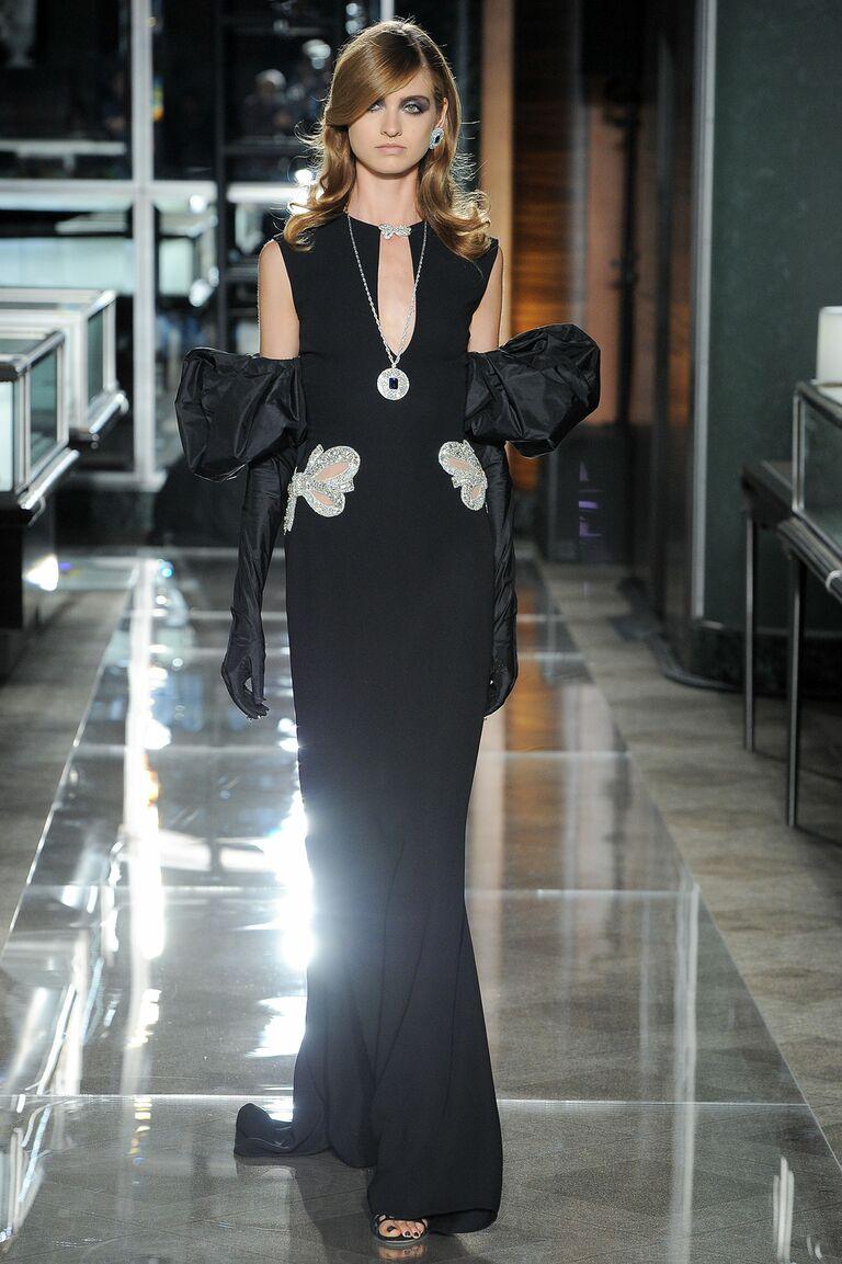Reem Acra black bow wedding dress