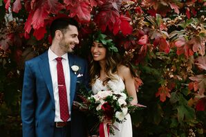 Modern, Bohemian Couple with Fall Flowers