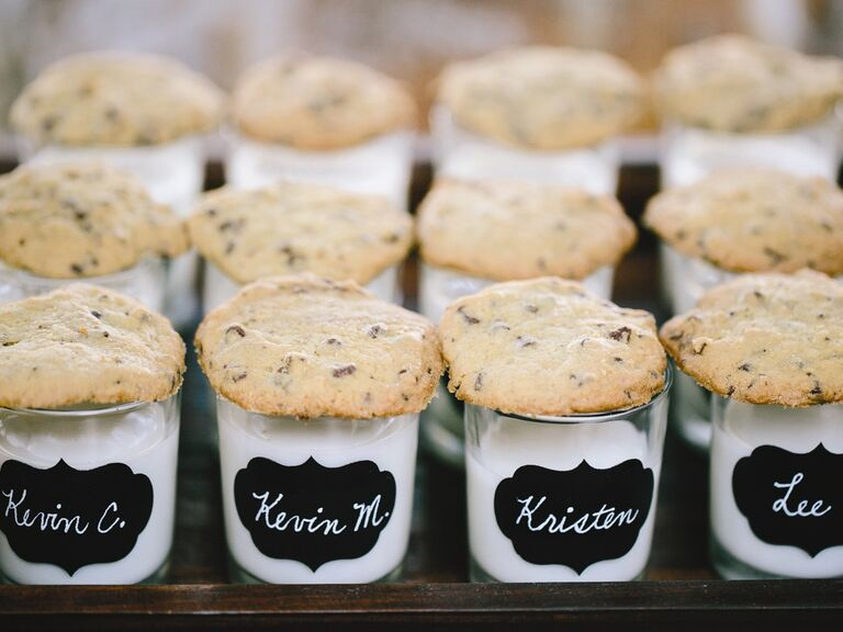 Milk and cookie edible escort cards