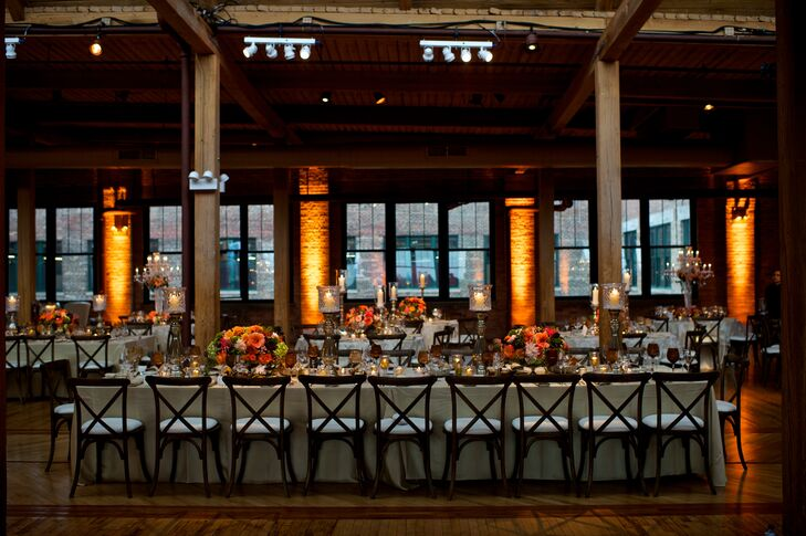 Romantic Rustic Head Table with Vibrant Flowers