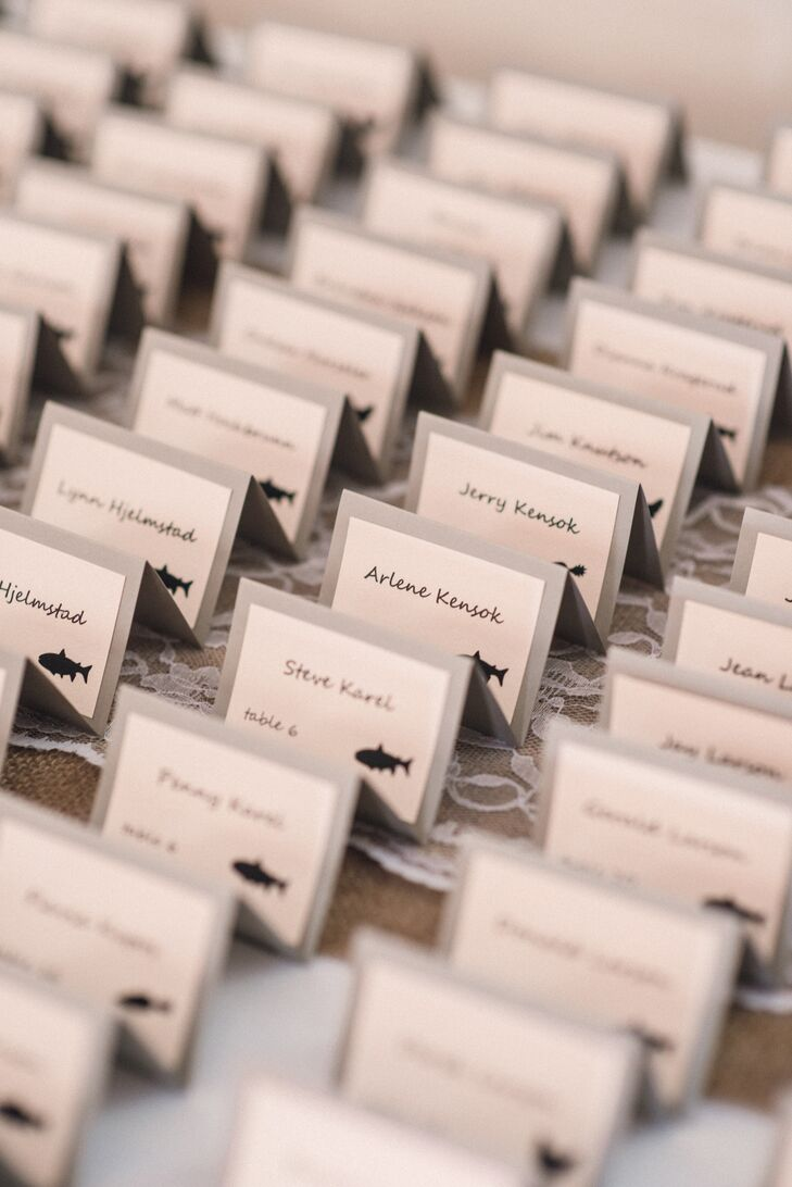 Gray and White Escort Cards