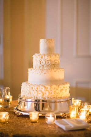Ivory and Gild Wedding Cake With Swirls
