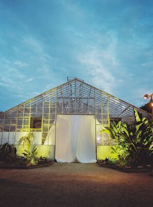 Outside of Greenhouse Reception with Spotlights