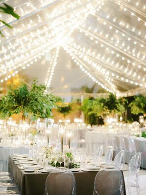 Tented Reception with String Lights and Trees