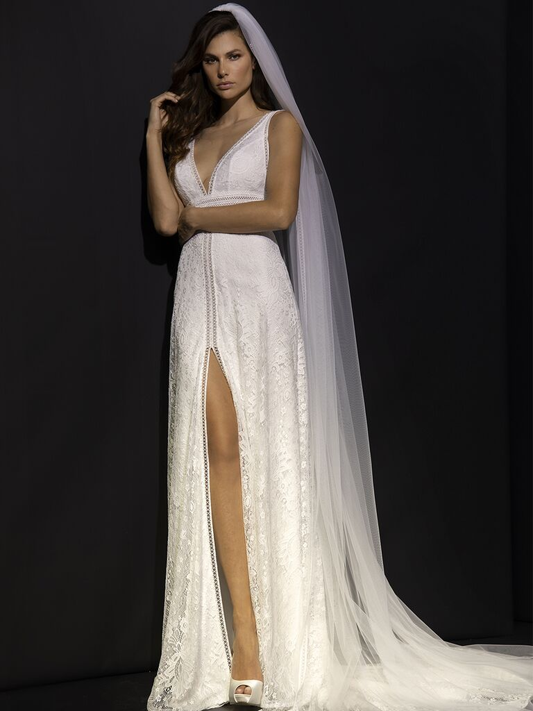 Valentini Spose Fall 2020 collection sleeveless lace column gown