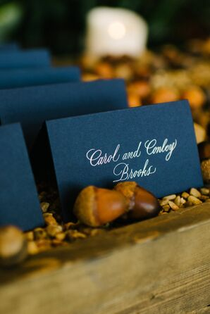 Navy Place Cards with Silver Calligraphy