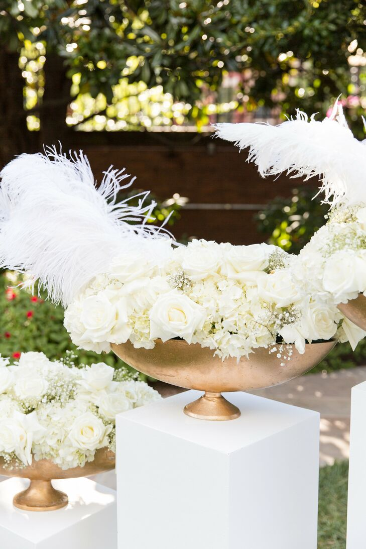 Glamorous All-White Flower Arrangement with Feathers