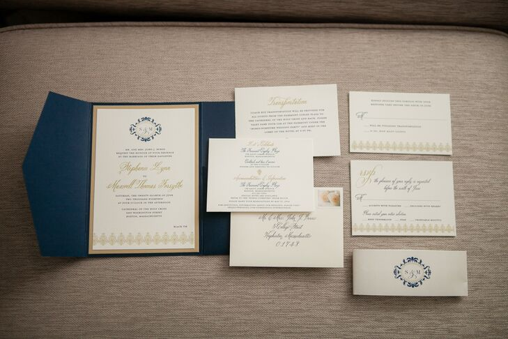 Stephanie and Max's elegant navy and gold stationery set the mood for their classically beautiful wedding.