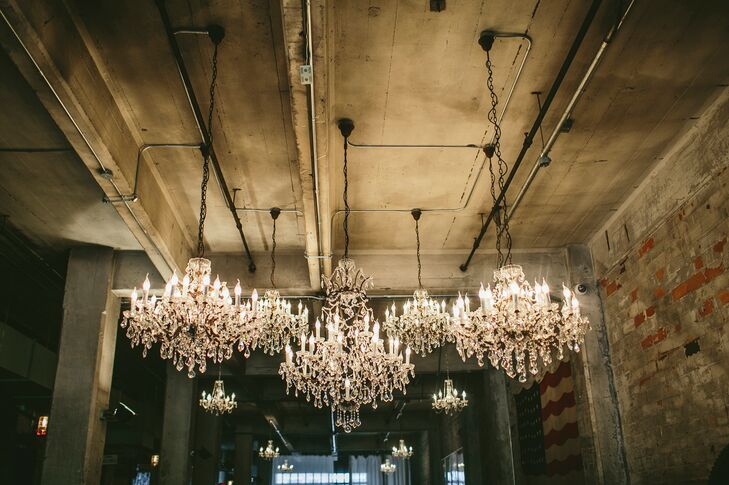 Large chandeliers lent an elegant aesthetic to the open loft space at Aria.