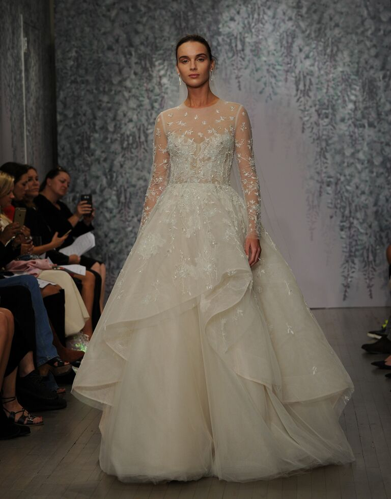 Monique Lhuillier wedding dress Fall 2016 Silk white/nude illusion long sleeve embellished sweetheart ball gown with horsehair peplum