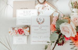 Rustic, Boho Invitation Suite with Floral and Antler Details