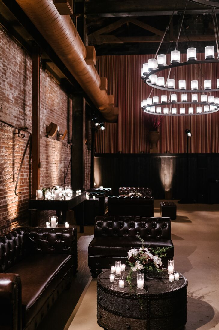 The barrel room at the Vintage House in Yountville, California, provided a cozy setting for part of the reception.