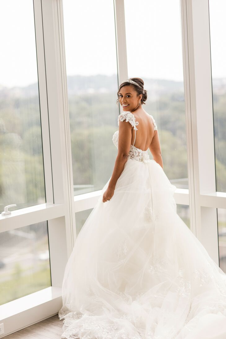 Bride Putting on Wedding Dress in Boston