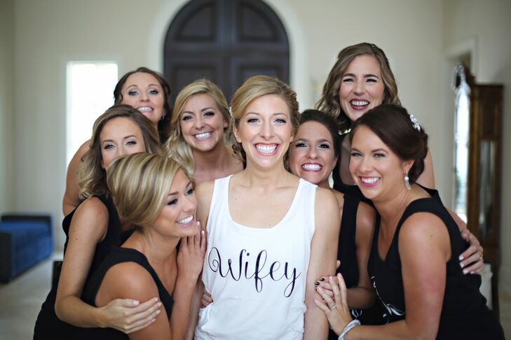 Bridal Party Getting Ready in Custom Tank Tops