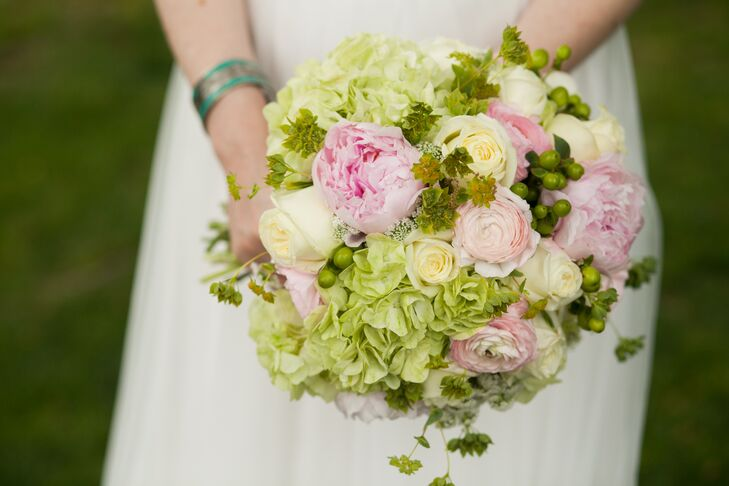 Green Hydrangea and Pink Rose Bridal Bouquet