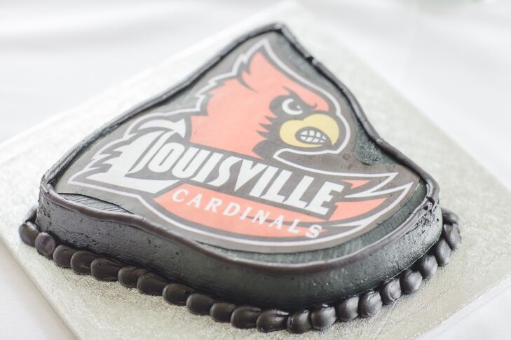 The groom is a die-hard Louisville Cardinals fan, so his groom's cake was decorated accordingly.