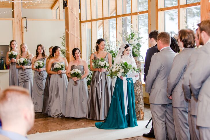 Dark Turquoise Wedding Dress with Lace Bodice