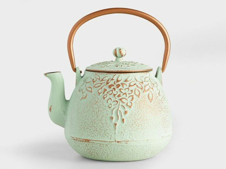 Light green shabby chic embossed iron teapot
