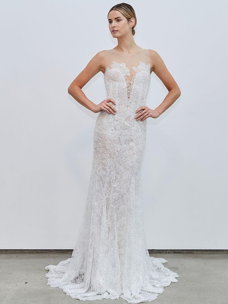 Francesca Miranda fitted dress with illusion neckline