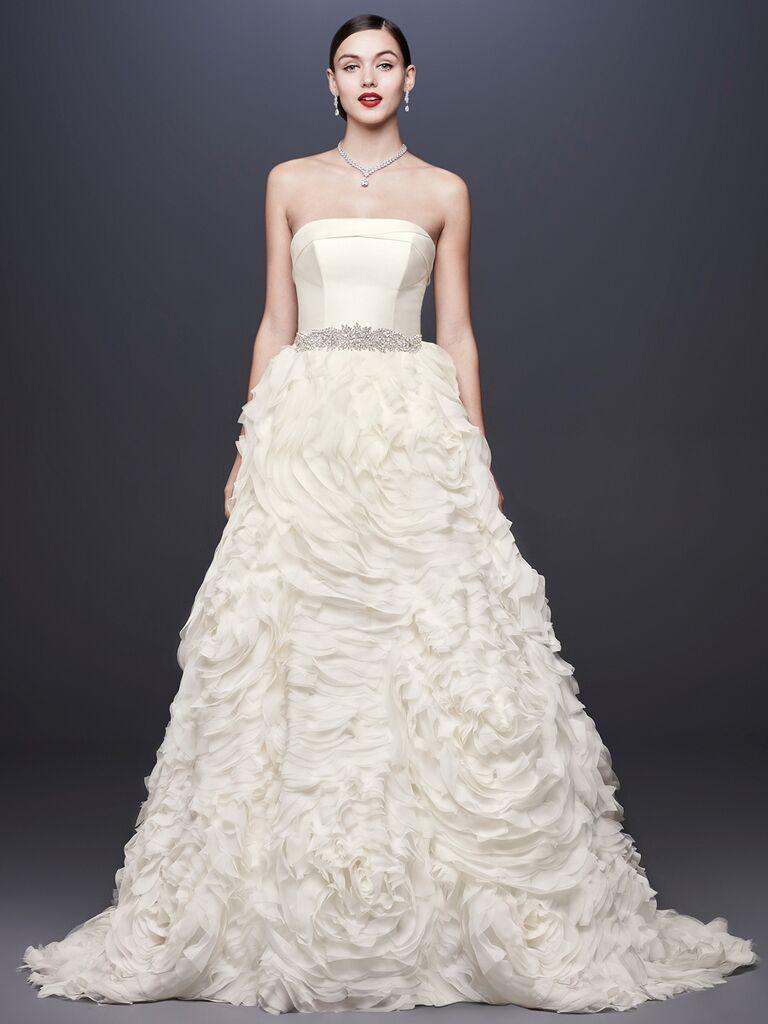 7b1763c37d95 Oleg Cassini at David's Bridal Spring 2019 wedding dress with ruched,  ruffled ball skirt and