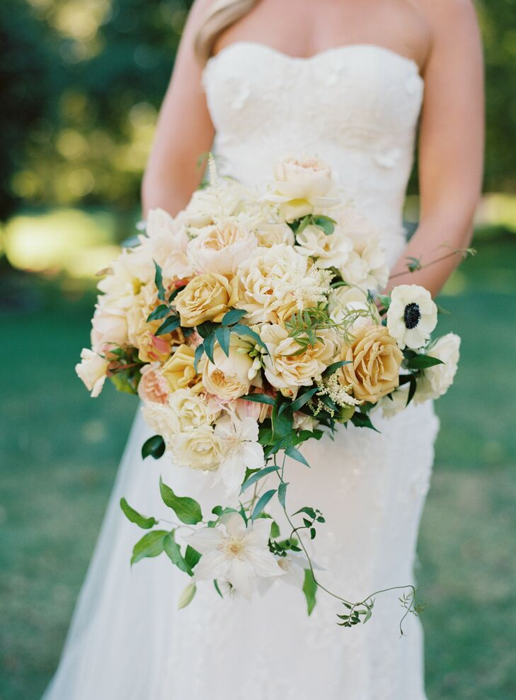 Yellow Wedding Bouquet at Rustic Estate Wedding in Ladue, Missouri