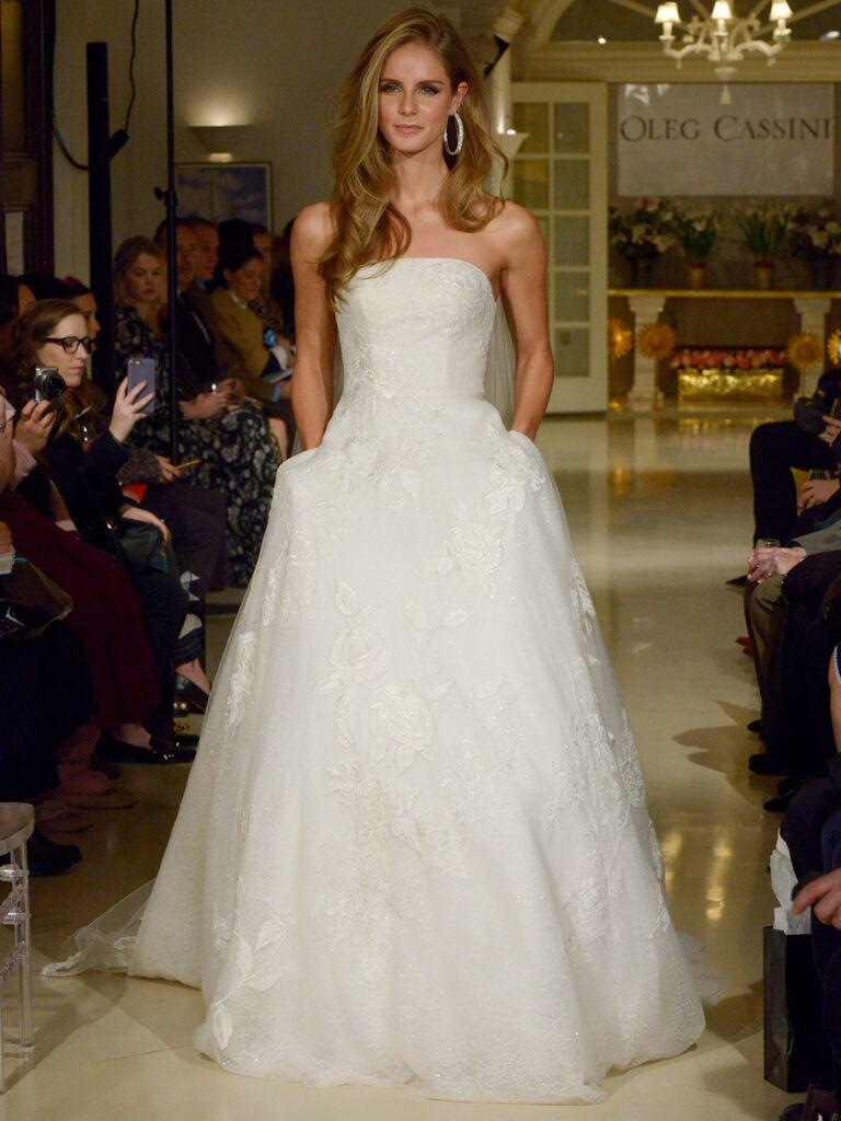 c3f990b2603 Oleg Cassini Spring 2019 strapless wedding dress with ball skirt