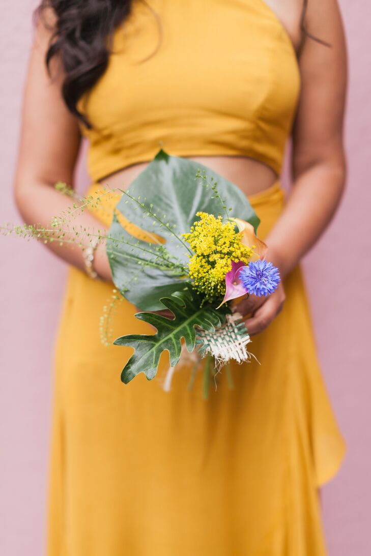 Simple Tropical Bridesmaid Bouquet With Palm Leaf And Wildflowers