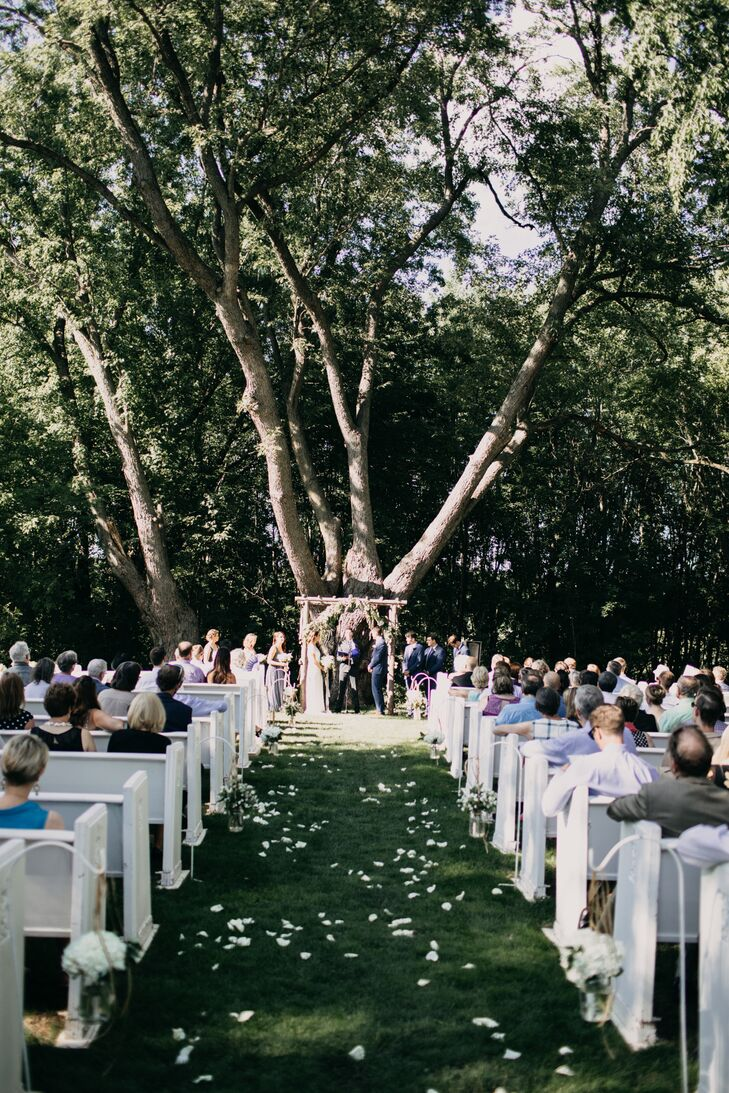 Outdoor Ceremony with White Pews