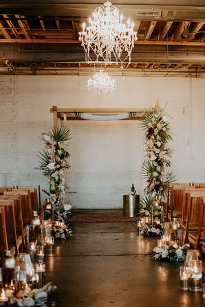 Chuppah with Leaf Decorations at Moss Denver in Colorado