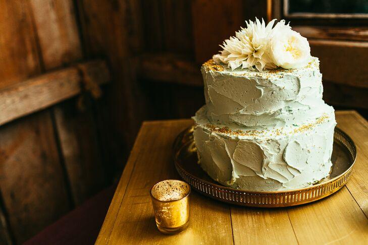 White Buttercream Two Tier Wedding Cake
