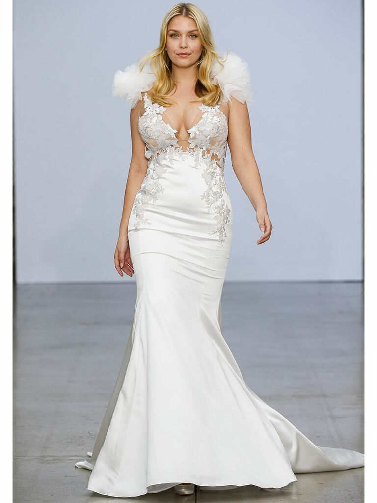 Pnina Tournai wedding dress satin fit-and-flare with feathers
