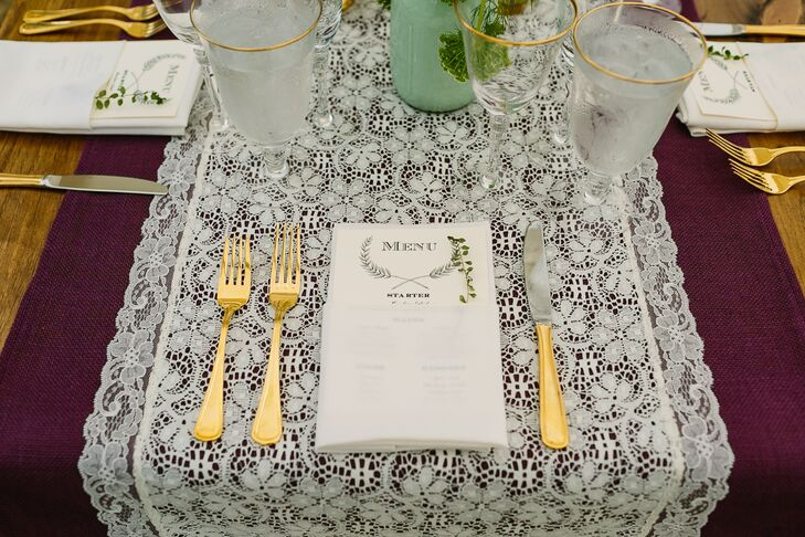 Gold Flatware and Lace Table Runners