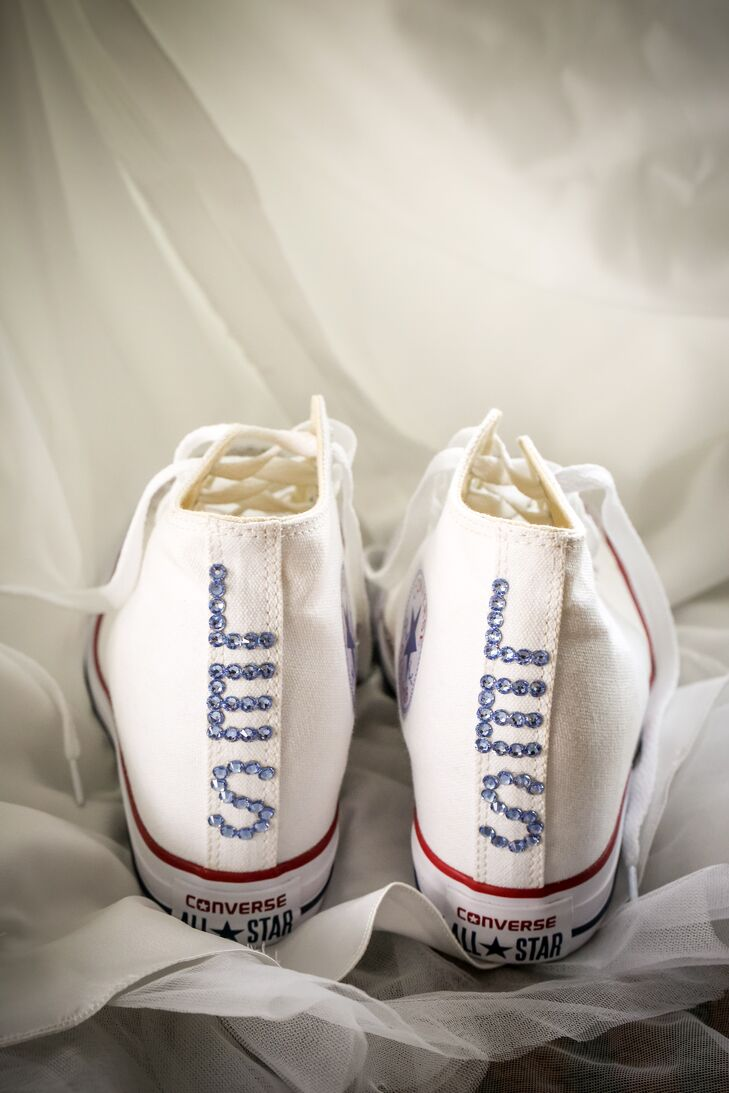 White Converse Sneakers Embellished with Bride's Initials