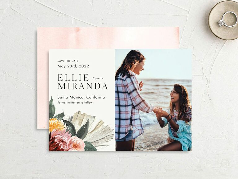 beach flower save the date with engagement photo