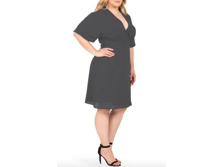 Gray plus size wrap dress
