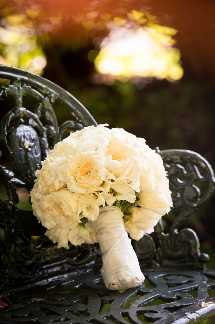 White Garden Rose Bridal Bouquet