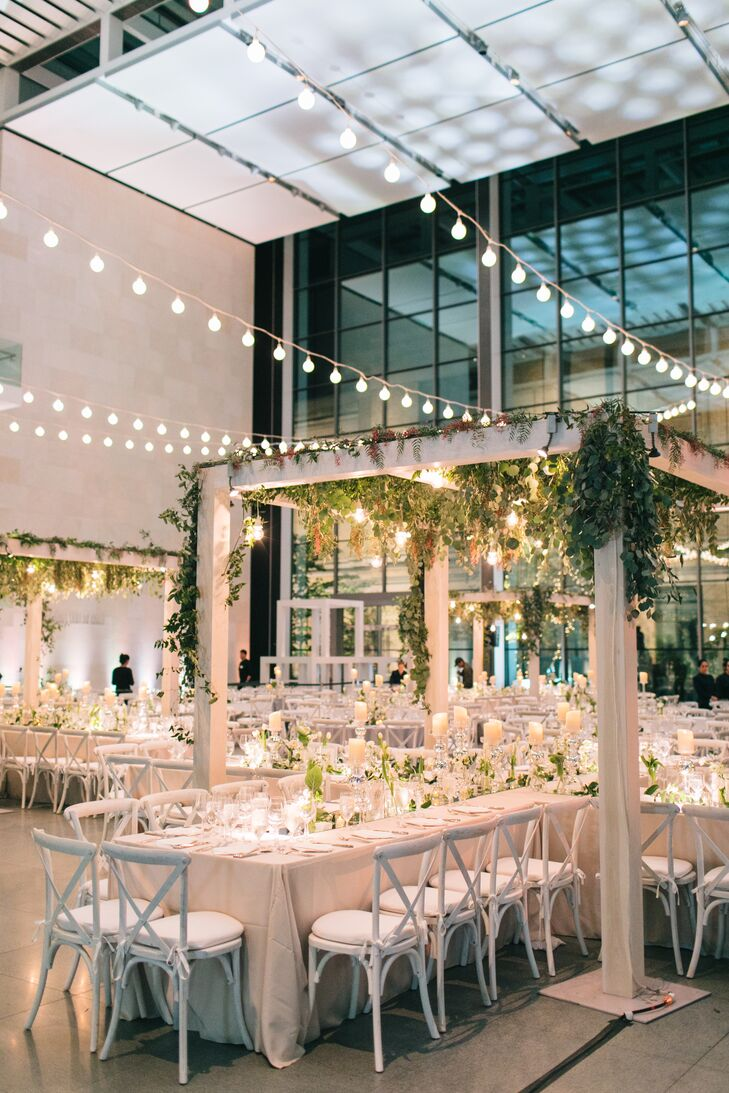 Romantic Museum Reception with Hanging Greenery and String Lights