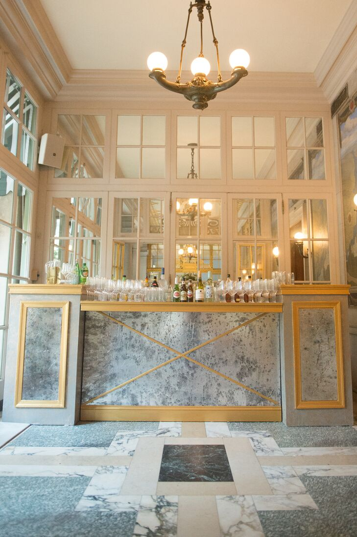 Custom Bar with Marble Print and Gold Accents