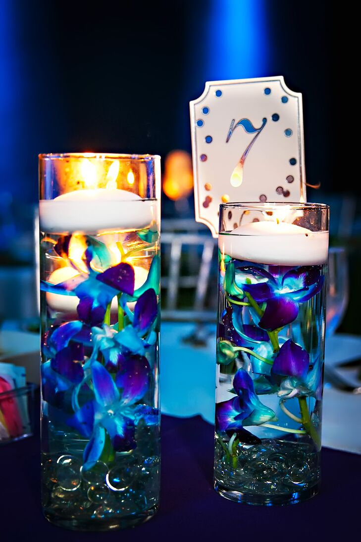 Floating Blue And Purple Orchid Centerpieces