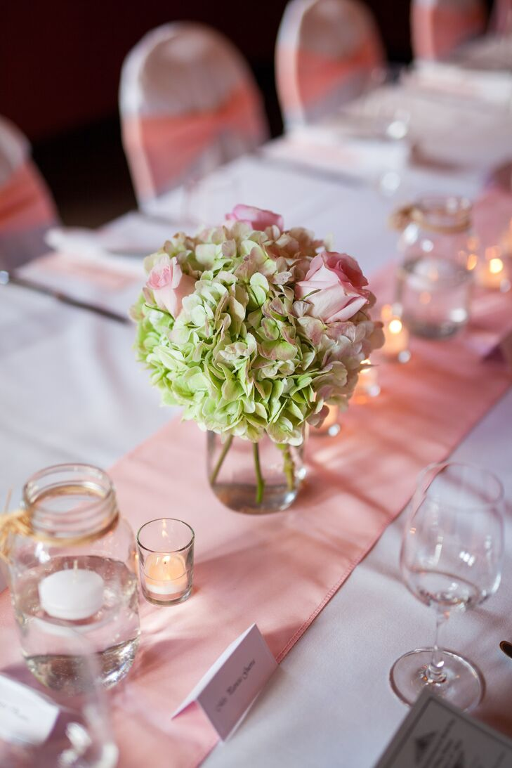 Hydrangea and Rose Low Centerpieces