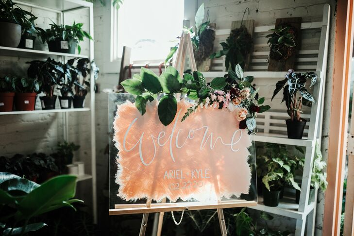 Lucite Welcome Sign for Wedding at Fancy Free Nursery in Tampa, Florida