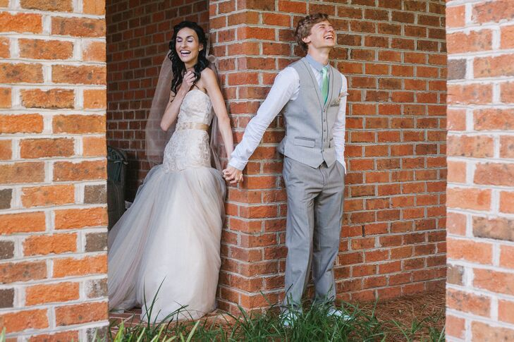 The couple chose not to have a first look, but met up before the ceremony to hold hands and pray together while hidden from each other's sight.