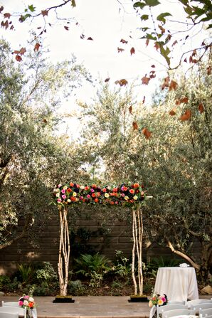 Romantic Birch-Wood and Rose Wedding Arch