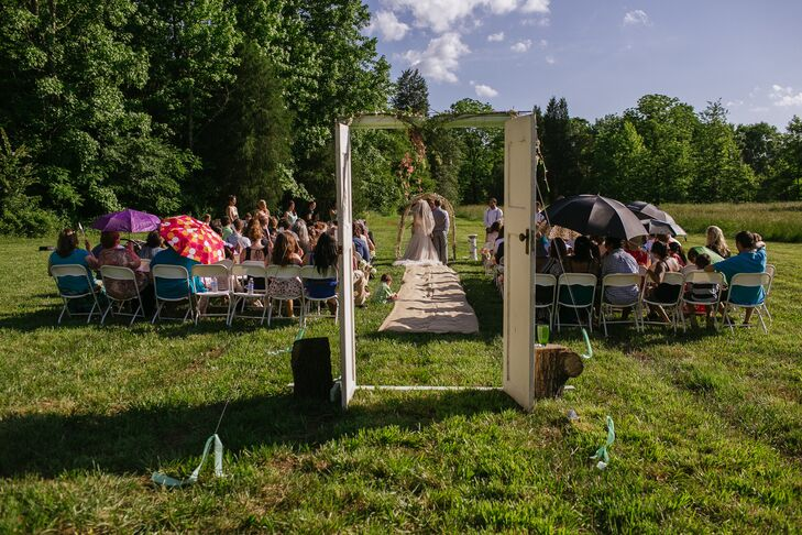 """""""I always knew that I wanted a beautiful, outdoor-focused ceremony in a big open field,"""" says the bride. The couple found exactly what they were searching for at their family friend's property."""