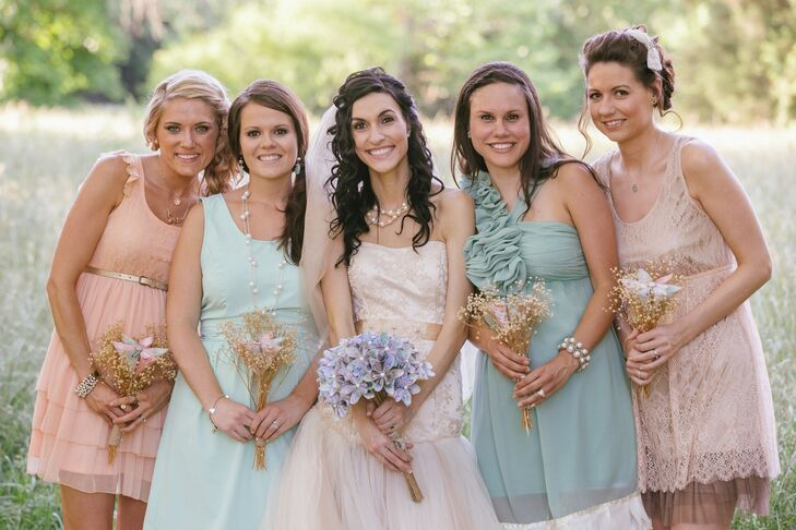 """The wedding colors were mint, peach and cream. """"We loved the softness and timeless beauty of this combination,"""" says Ashley."""