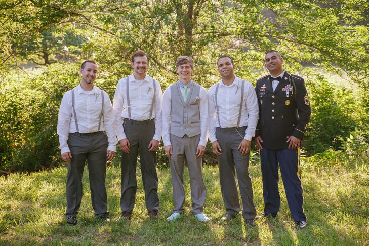 Casual Light Gray Groomsmen Attire with DIY Boutonnieres